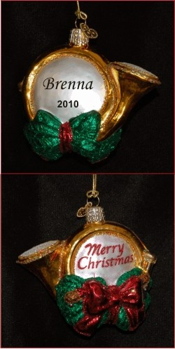 Holiday Horn Glass Personalized Christmas Ornament