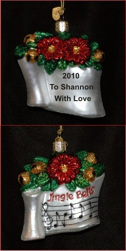 Holiday Music Glass Personalized Christmas Ornament