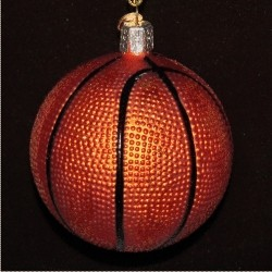 Basketball Glass Christmas Ornament Personalized by Russell Rhodes