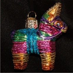 Pinata Mexican Glass Christmas Ornament