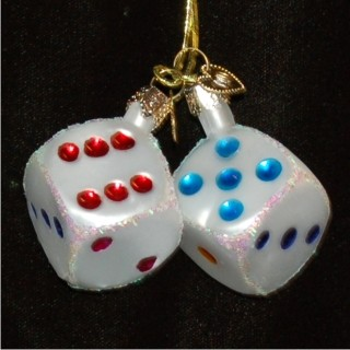 Pair of Dice Glass Christmas Ornament Personalized by Russell Rhodes