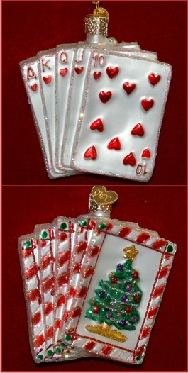 Poker: Royal Flush Glass Christmas Ornament Personalized by Russell Rhodes