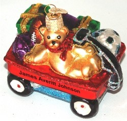 Little Red Wagon Glass Christmas Ornament Personalized by Russell Rhodes