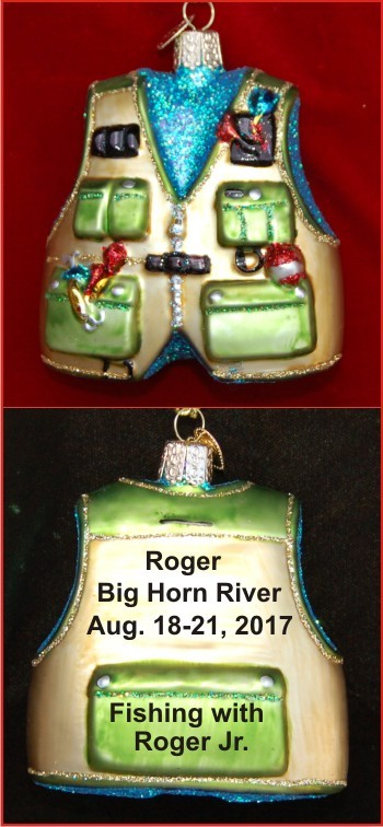 Weekend Pro Fishing Vest Christmas Ornament Personalized by Russell Rhodes