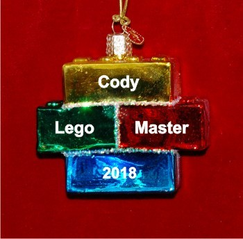 Kids Building Blocks Christmas Ornament Personalized by Russell Rhodes