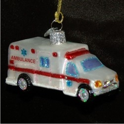 Ambulance Glass Christmas Ornament Personalized by Russell Rhodes