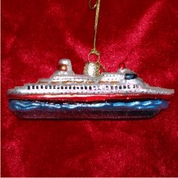Cruisin' the High Seas Glass Christmas Ornament
