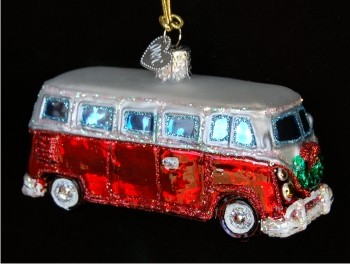 Camper Van Glass Christmas Ornament