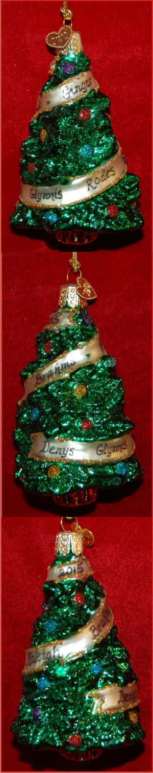 Sentimental Christmas Tree Glass Christmas Ornament Personalized by Russell Rhodes