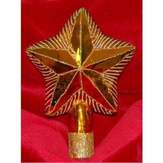 Star Tree Topper Glass Christmas Ornament Personalized by Russell Rhodes
