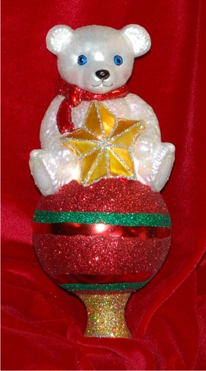 Teddy Tree Topper Glass Christmas Ornament