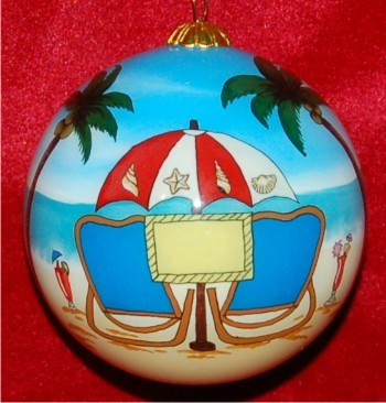 Beach Engagement Christmas Ornament