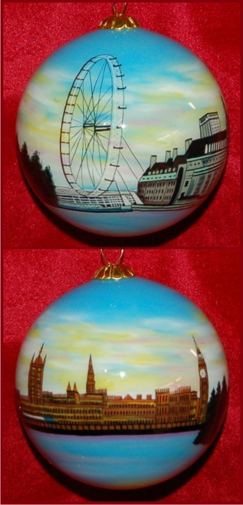 London at Dawn: Parliament & Big Ben Christmas Ornament Personalized