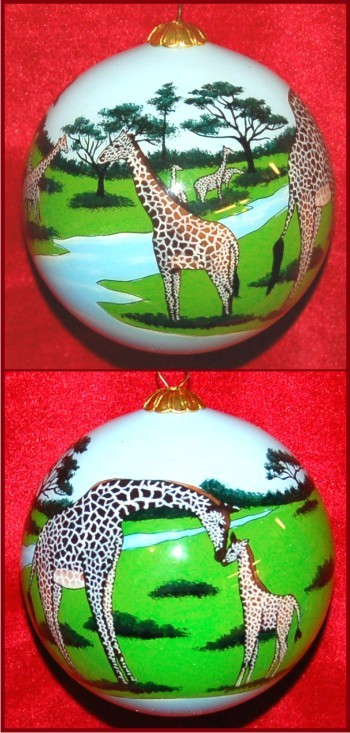 Natural Beauty: Giraffes in the Wild Christmas Ornament Personalized