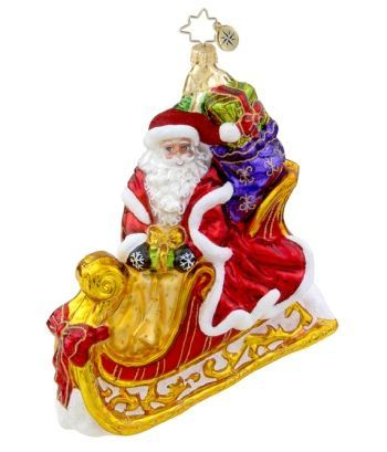 Seasonal Sleighride Radko Santa Ornament