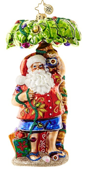 Caribbean Breezes Santa Chillin' on the Beach Christmas Ornament Personalized by Russell Rhodes