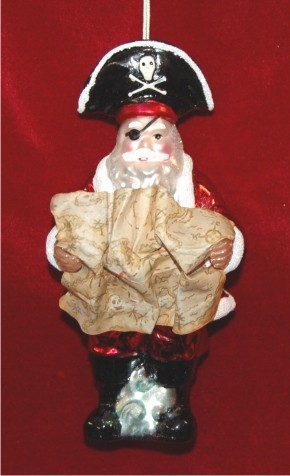 Caribbean Pirate Santa Christmas Ornament
