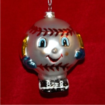 Baseball for Kids Glass Personalized Christmas Ornament