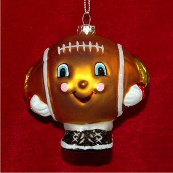 Football for Kids Glass Personalized Christmas Ornament
