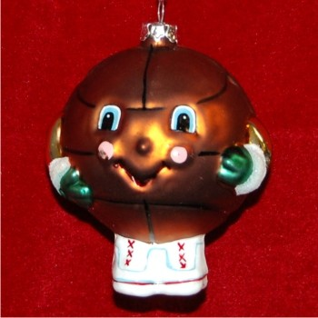Basketball for Kids Glass Personalized Christmas Ornament