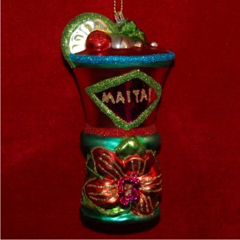 Mai Tai Surprise Glass Personalized Christmas Ornament