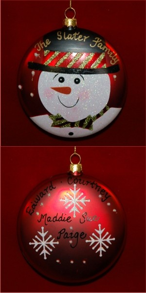 Top Hat Snowman Glass Personalized Christmas Ornament