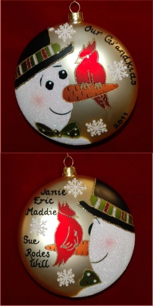 Christmas Cardinal & The Snowman Family Christmas Ornament Personalized by Russell Rhodes