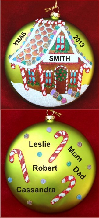 Cute GB House Disk Glass for Family of up to 8 Members Personalized Christmas Ornament
