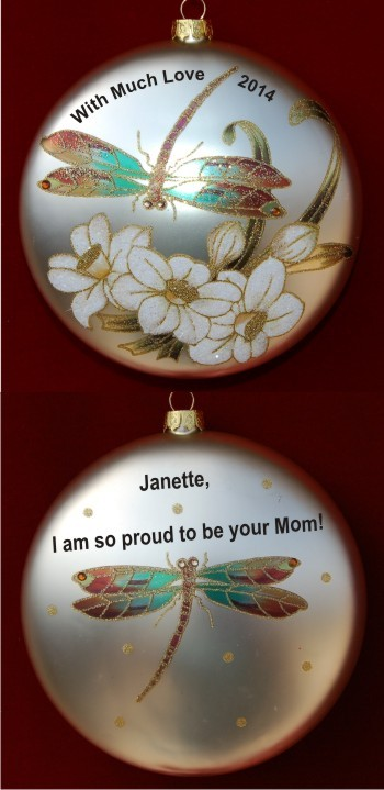Dragonflies in the Garden Glass Mother to Daughter Ornament