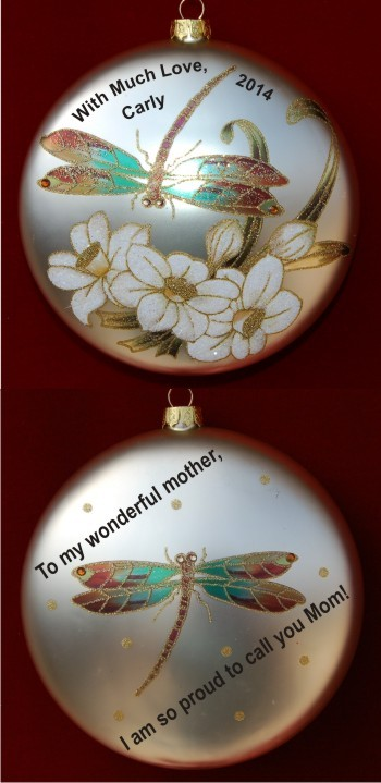 Dragonflies in the Garden Glass Daughter to Mother Ornament