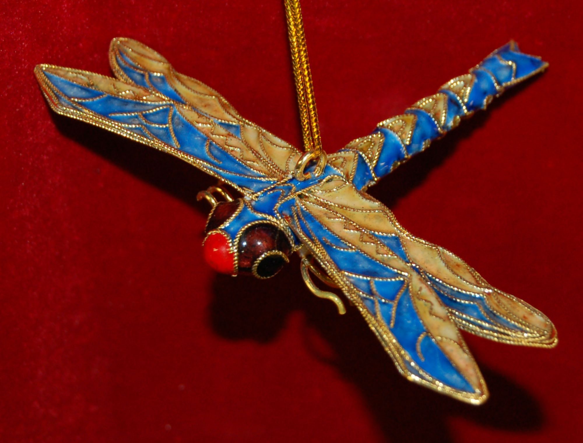 Personalized Dragonfly Christmas Ornament Cloisonne Blue by Russell Rhodes
