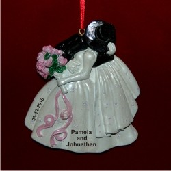 Wedding Kiss to Remember Personalized Christmas Ornament