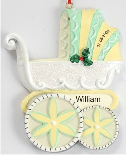 Baby Pram Parade Christmas Ornament