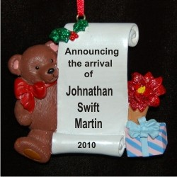 Cute as a Button Bear Christmas Ornament Personalized by Russell Rhodes