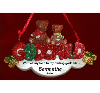 Teddy-Bear Precious My Godchild Christmas Ornament