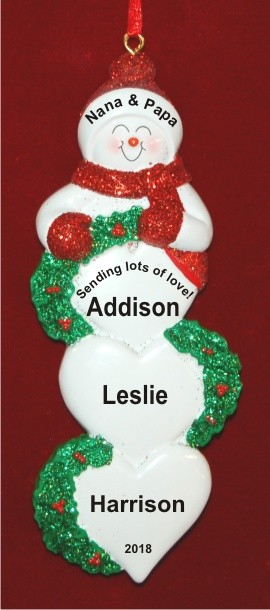 Lots of Love for 3 Grandchildren Personalized Christmas Ornament