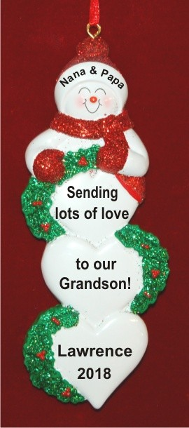 Sending Lots of Love to Our Grandchild Personalized Christmas Ornament