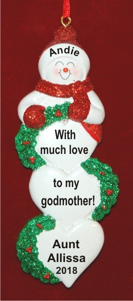 Lots of Love From Godchild to Godmother Personalized Christmas Ornament Personalized by Russell Rhodes