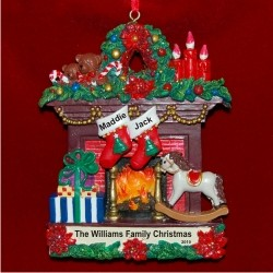 Family Fireplace for 2 Personalized Christmas Ornament