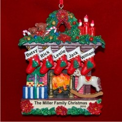 Family Fireplace for 5 Personalized Christmas Ornament