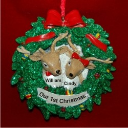 Reindeer Wreath for 2 Personalized Christmas Ornament