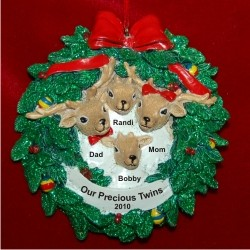 Twins Reindeer Wreath Parents & Twins Personalized Christmas Ornament