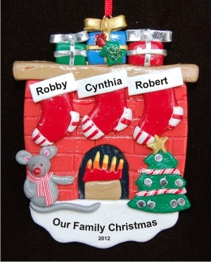 Fireplace with 3 Stockings Personalized Christmas Ornament