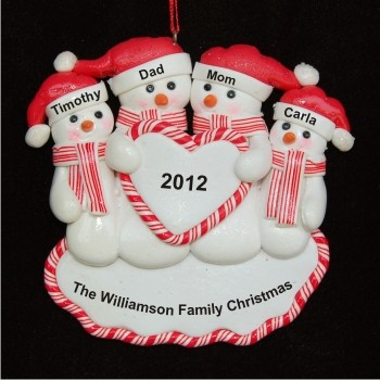 Loving Snow Family of 4 with Heart Personalized Christmas Ornament