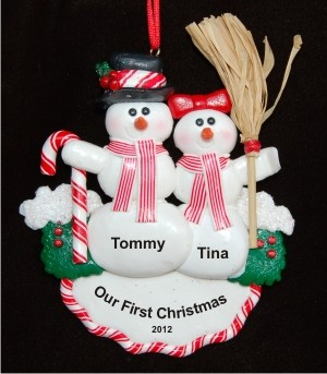 Our First Christmas - Snow Couple Personalized Christmas Ornament