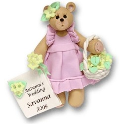 Belly Bear Flower Girl Personalized Christmas Ornament