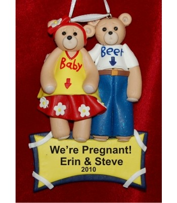 Expecting Belly Bear Couple Personalized Christmas Ornament