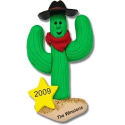 Western Ornaments Cactus Cowboy Personalized Christmas Ornament