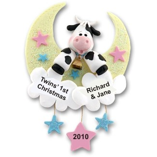 Cow Jumped Over the Moon for Twins Personalized Christmas Ornament