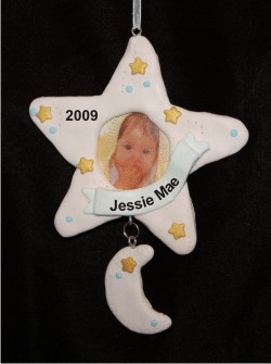 Star Frame Baby Pink Christmas Ornament Personalized by Russell Rhodes
